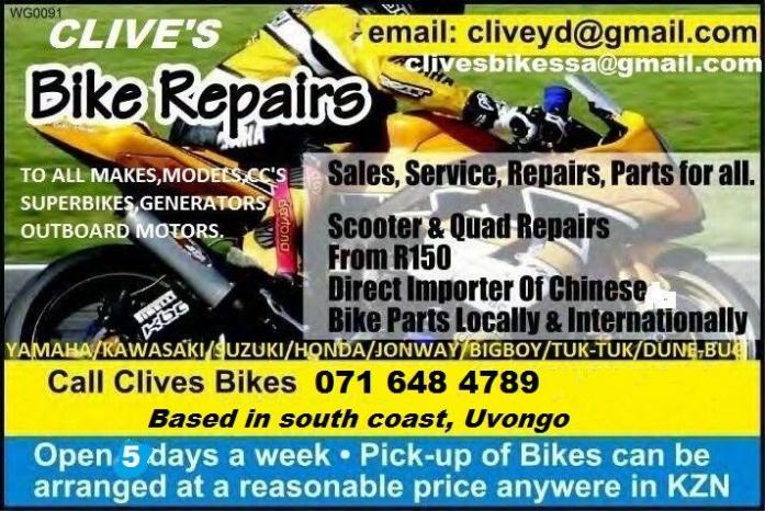 bike repairs/parts to quads, scooters, roadbikes,superbikes, tuk tuk