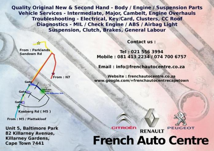 Peugeot & Renault & Citroen - STRIPING FOR PARTS - FRENCH AUTO CENTER CAPE TOWN