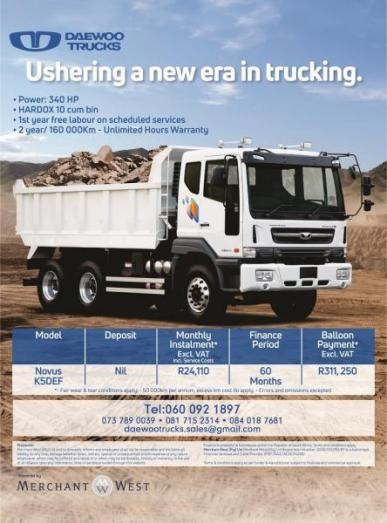 Ushering  A New Truck , Daewoo Tipper K5def